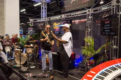 Sekou Bunch & George Johnson (Brothers Johnson) at NAMM. Sekou is using the WJ 2x10 cab & WJBP pre -amp