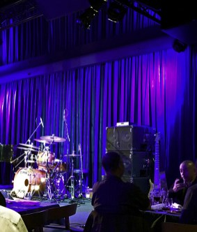 2000 watts of WJ 2×10 powered bass cabinets and a WJBP Stereo Valve Bass Pre-Amp waiting for Jimmy Haslip to enter stage with Jeff Lorber's Fusion at Birds Basement jazz club
