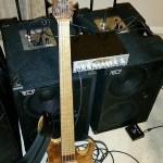 David Dyson, bass player rig. 2000 watts of powered bass guitar cabinets.