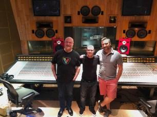Steve Scanlon, Wayne Jones and Jeff Barnes at Record Plant Recording Studios