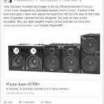 Tim George, bass player, endorsement of Wayne Jones AUDIO bass guitar speaker cabinets & stereo valve bass pre-amp.