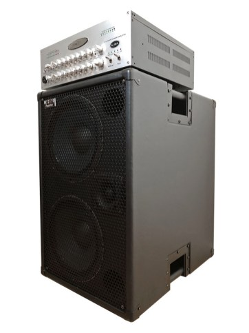 WJBA 2000 Watt Bass Guitar Amplifier with built in Twin Channel Bass Pre-Amp, featuring the option of phantom power on the second channel. 2000 Watts into 4 or 8 Ohms with WJ 2×10 Passive 700 Watt Bass Cabinet.