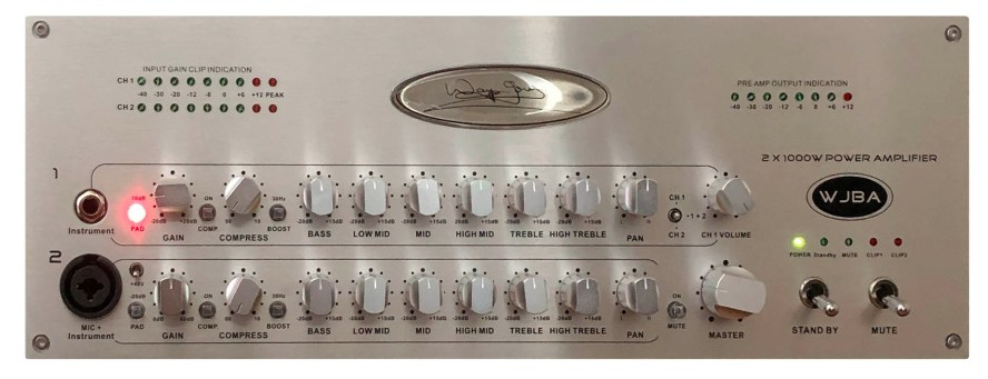 WJBA 2000 Watt Bass Guitar Amplifier with built in Twin Channel Bass Pre-Amp, featuring the option of phantom power on the second channel. 2000 Watts into 4 or 8 Ohms.