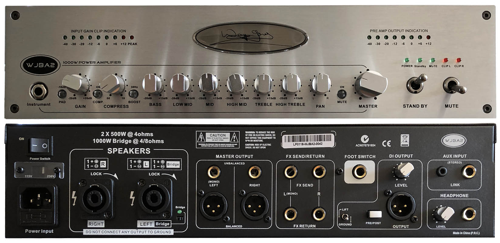 Reviews Industry Wayne Jones Audio 40w 2 Ohm 24w 4 Ohms Bridge Power Amplifier Wjba2 1000 Watt Bass Guitar With 6 Band Eq Pre Amp