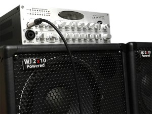 WJ 2x10 100 watt powered cabinet for bass players with a WJBPII twin channel pre-amp with option of phantom power on 2nd channel