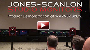 Jones-Scanlon Studio Monitors being demonstrated at Warner Bros. with Kevin Collier (Dir of Engineering, PPS at Warner Bros.) and Warner Bros. engineer team.