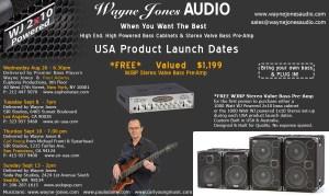 Wayne Jones AUDIO - Product Launch Dates - Hi Powered, Hi End Bass Cabinets, Stereo Valve Bass Pre-Amp & Hi Fi Studio Monitors
