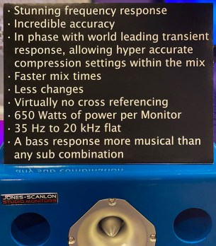 Jones-Scanlon Studio Monitors - specifications & talking points