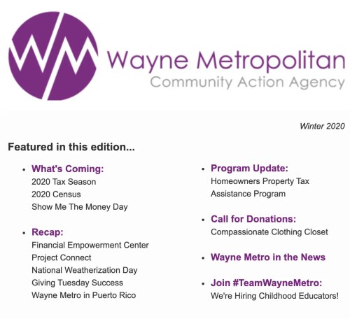 What's New at Wayne Metro - Winter 2020