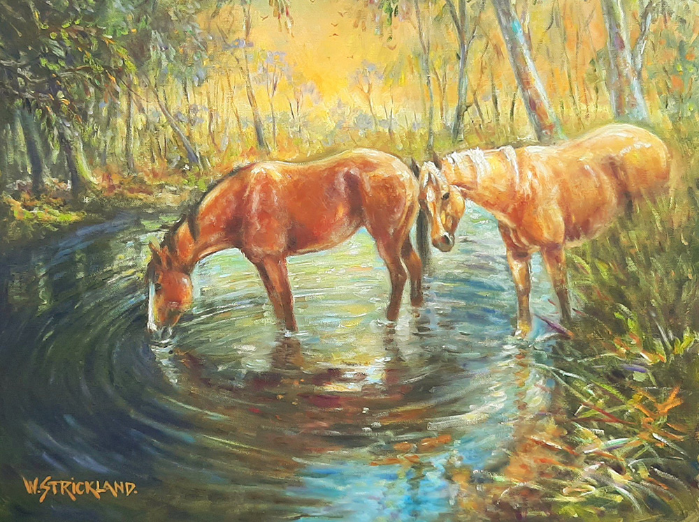 outback waterhole painting oil wayne strickland
