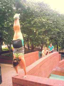 My friends from Houston Parkour having a great time while Sarah Murphy shows us her handstands.
