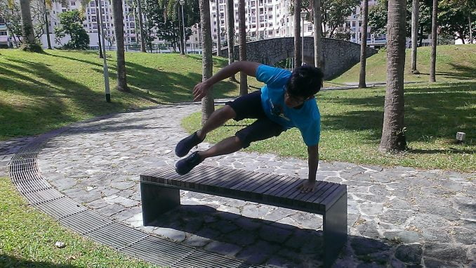 Vaulting over a bench (progression)