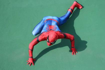 Spider-man cosplay with acrobatics