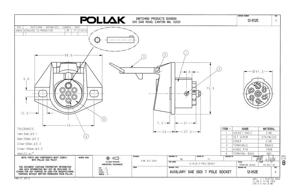 7 pin trailer wiring diagram emg 3 pickup pollak 12-812ep 7-way connector socket | waytek wire