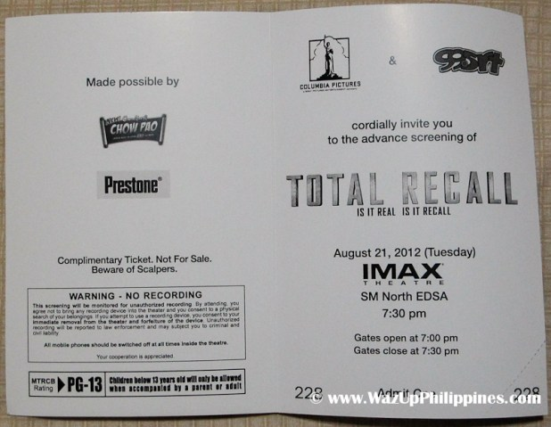 Total Recall Movie 2012 Advance Screening Ticket Inner