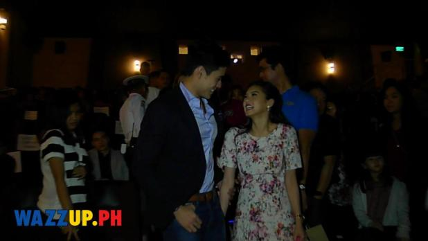 Kim Chiu and  Xian Lim sharing a quick moment after photo ops at the Paddington Celebrity Night