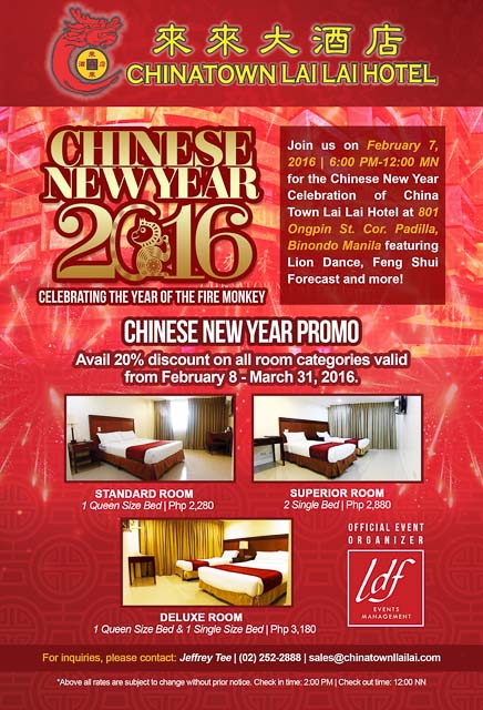 EXPERIENCE THE SPECIAL CELEBRATION OF CHINESE NEW YEAR AT CHINATOWN LAI LAI HOTEL-