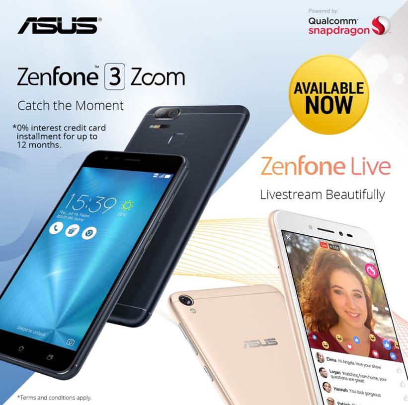 ASUS Zenfone 3 Zoom And Zenfone Live Now Available At