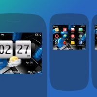 Abstract dark blue theme Nokia C3-00 X2-01 Asha 200 Asha 302