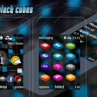 Abstract black cubes digital clock swf theme X2-00 X2-02 Asha 206 207