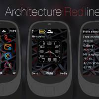 Architecture red line analog clock swf theme Asha 515 301 X2-00