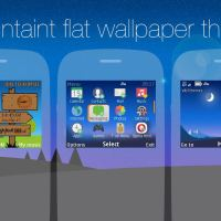 Mountaint flat wallpaper with battery and signal indicator theme Asha 210