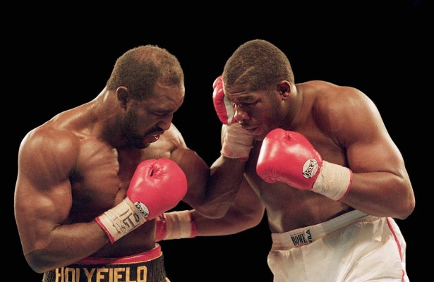 The three Holyfield-Bowe fights are among the greatest trilogies in history. (Holly Stein/Allsport)