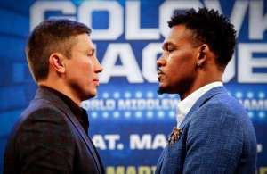 WBA Middleweight super champion Gennady Golovkin, left, poses with challenger Daniel Jacobs as they face off during a boxing press conference, Tuesday, Jan. 10, 2017, at Madison Square Garden in New York. Golovkin will put his belts on the line against Jacobs on Saturday, March 18 at Madison Square Garden. Photo: Bebeto Matthews, AP