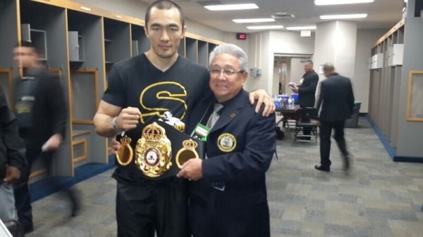 Photo: Beibut Shumenov receives WBA Super Belt