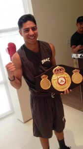 Champion Jessie Vargas received the WBA championship belt