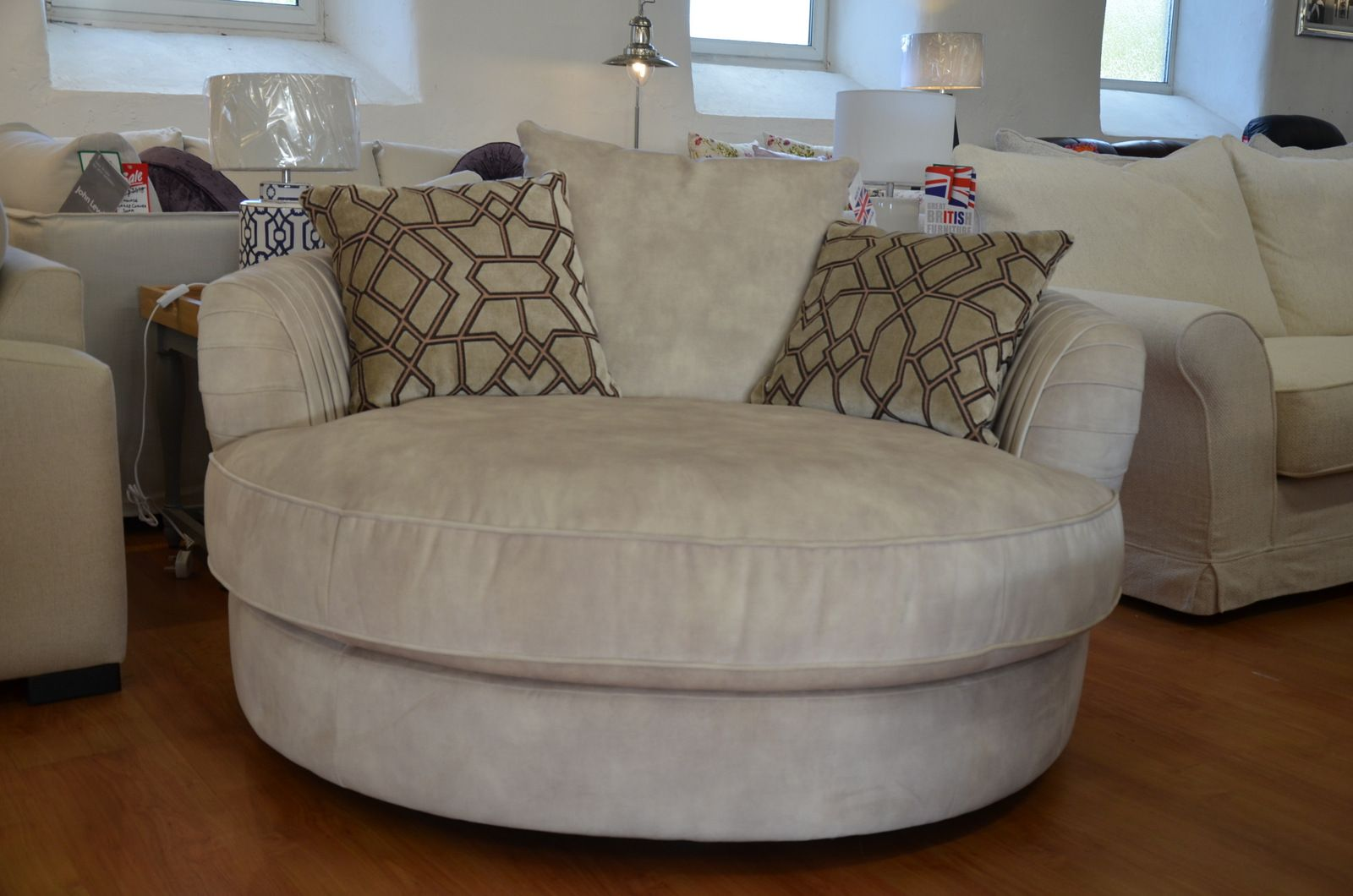 Prototype Large Round Swivel Chair Snuggler