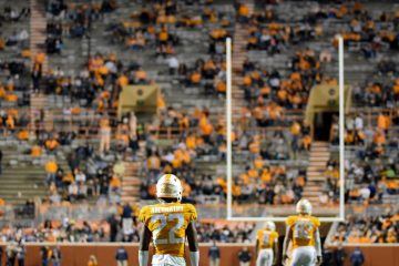 Tennessee Volunteers defensive back Micah Abernathy (22) waits for a kickoff during the second half against the Vanderbilt Commodores at Neyland Stadium.