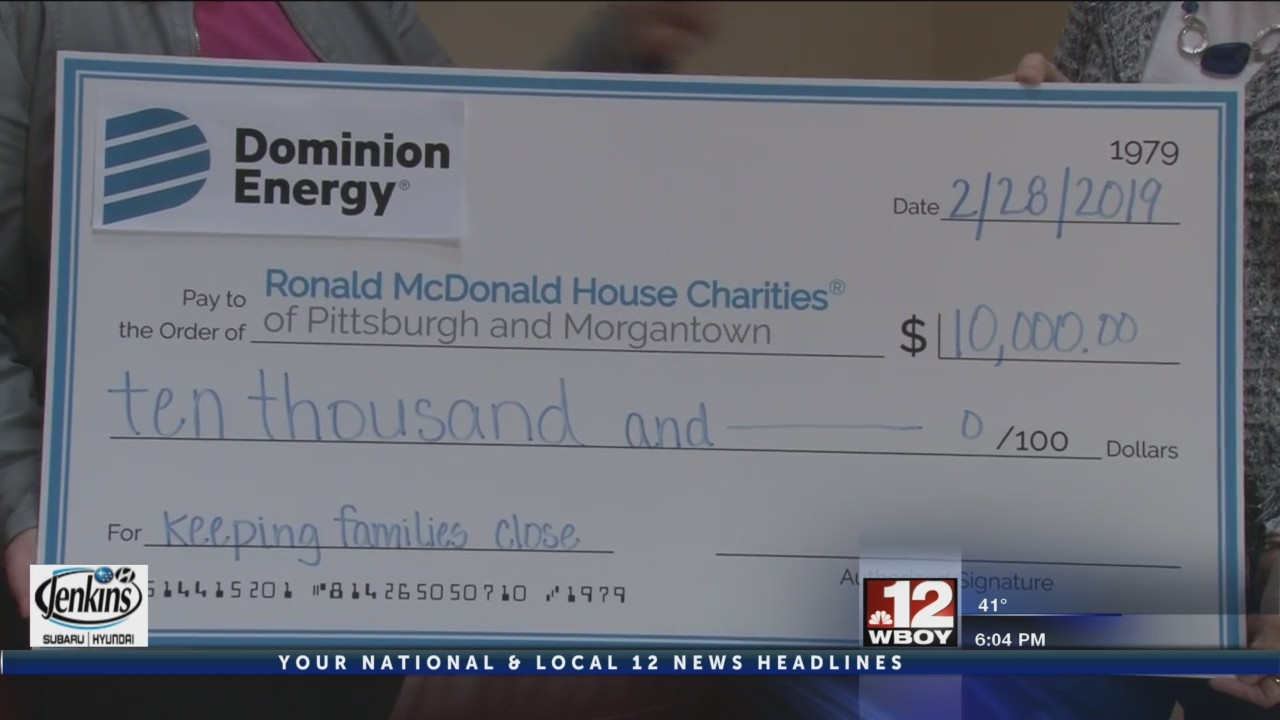 Dominion Energy presents check to Ronald McDonald House Charities
