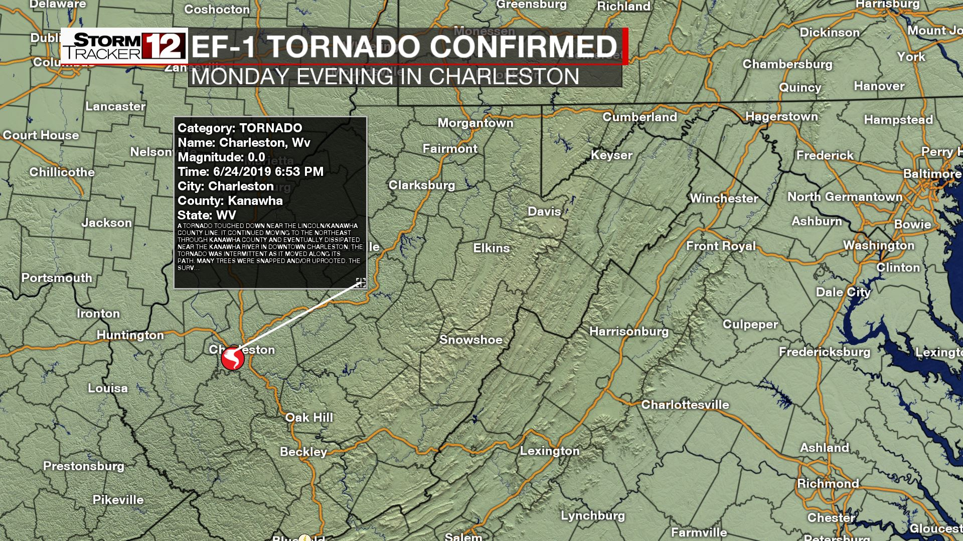 Tornado confirmed in Charleston Monday night | WBOY on map england counties, new jersey county, los angeles county, illinois county, texas map county, new york county, early county, map south carolina, texas by county, middle east county,