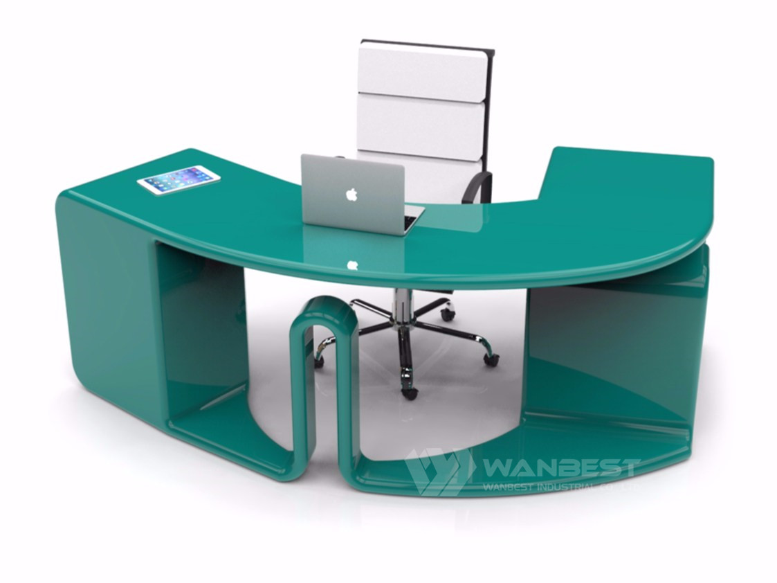 round office desk white color simple design
