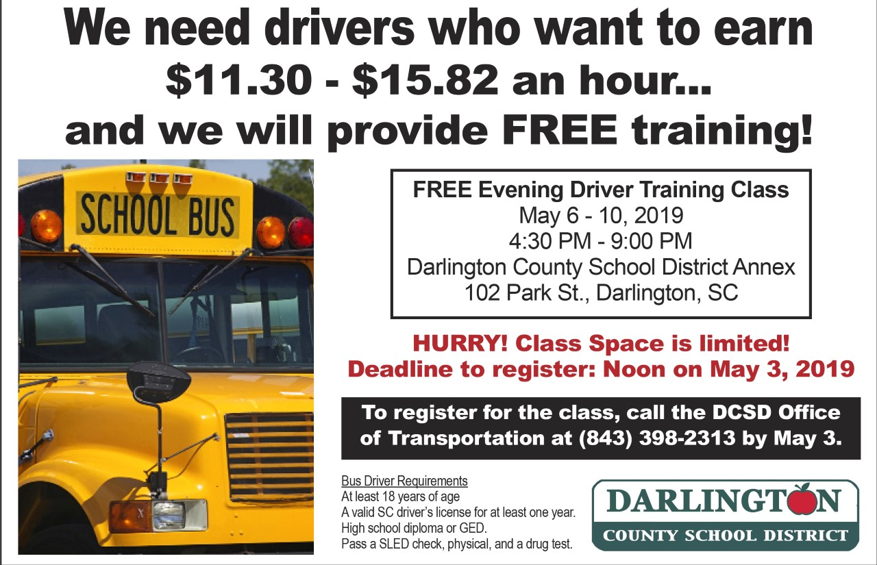 Darlington County School District to offer free bus driver