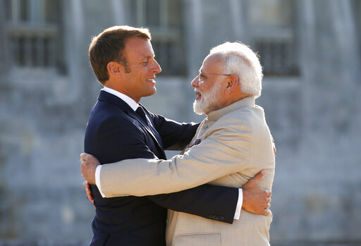 French President Macron and Indian Prime Minister Modi meet at the Chateau of Chantilly, near Paris