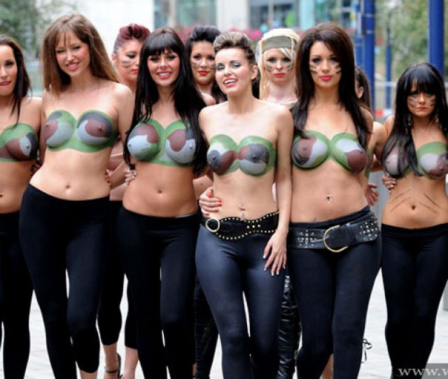 Topless Girls Marching In Manchester