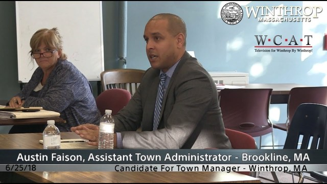 Winthrop, MA Town Manager Candidate Interview: Austin Faison