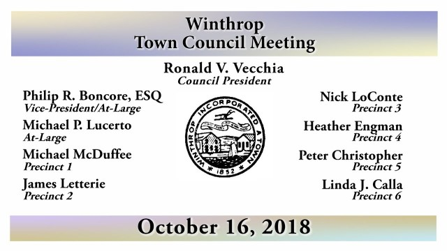 Winthrop Town Council Meeting of October 16, 2018