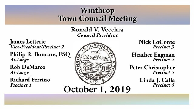 Winthrop Town Council Meeting of October 1, 2019
