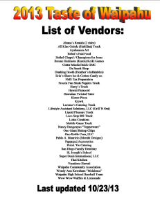 List of Vendors for website