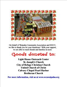 2015 Food drive thanks