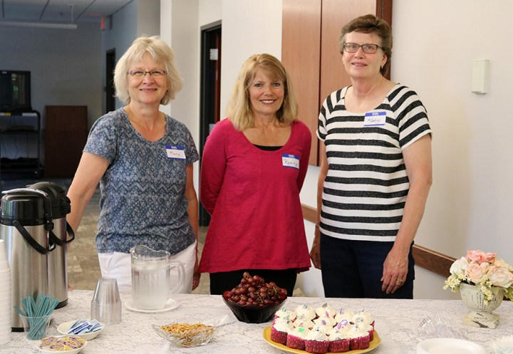 Mary, Renita and Kathy welcome you to the Forget-Me-Knot Memory Café.