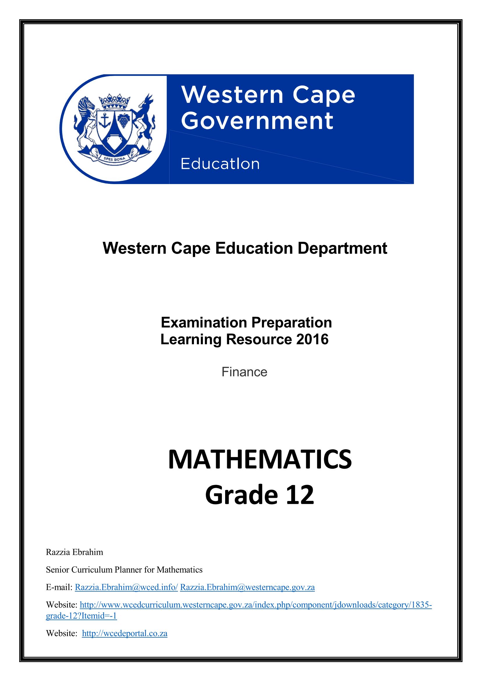 Mathematics Grade 12 Finance