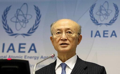 FILE – In this Nov. 22, 2018, file photo, International Atomic Energy Agency (IAEA) Director General Yukiya Amano of Japan addresses the media during a news ...