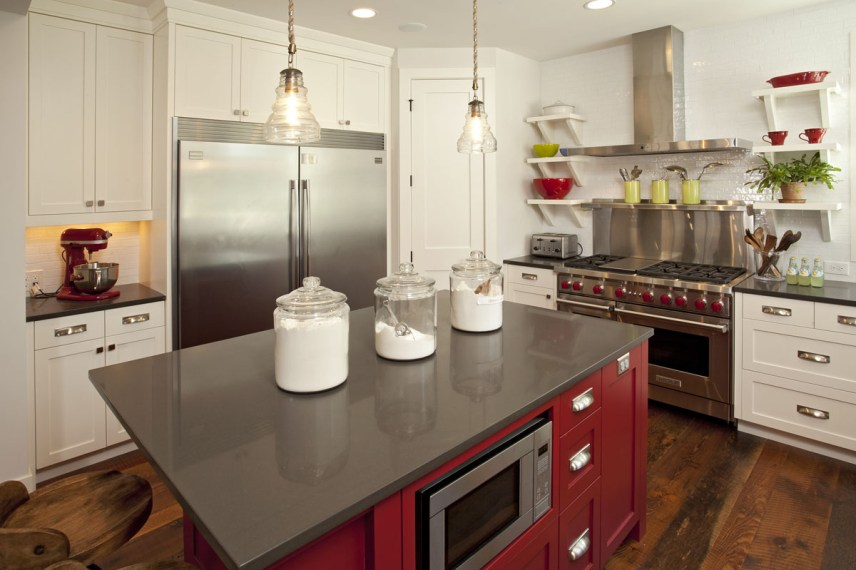 1-Two Toned Kitchen - Red Island, Refined LLC
