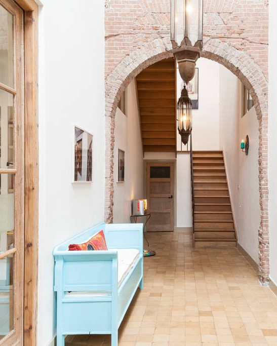 Hallway Exposed Brick Converted Schoolhouse