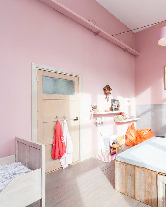 Pink Bedroom Converted Schoolhouse
