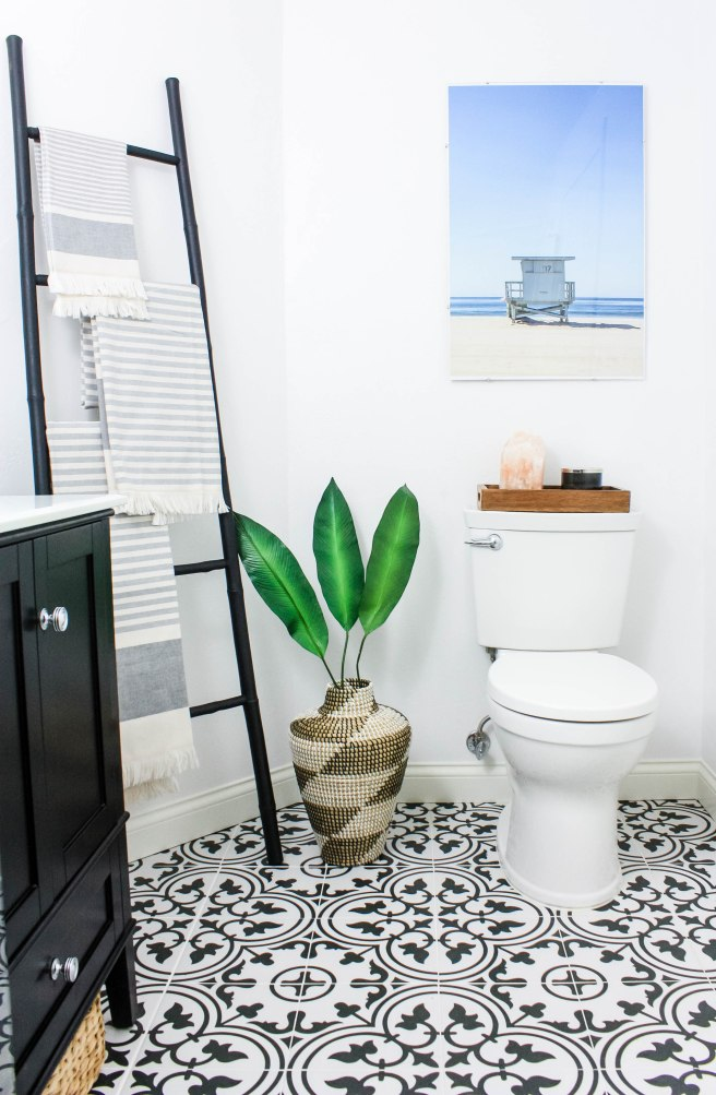 Transitional Bathroom with Beach Print